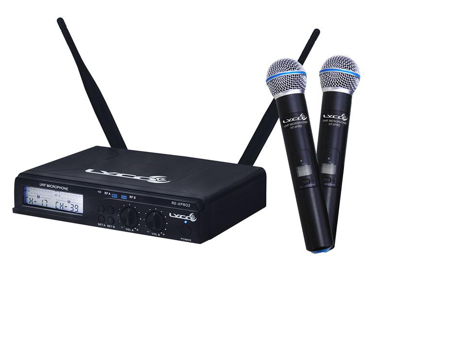Microfone Lyco UHXPRO02MM UHF 100 Frequência S/Fio Mao duplo  2 Antenas