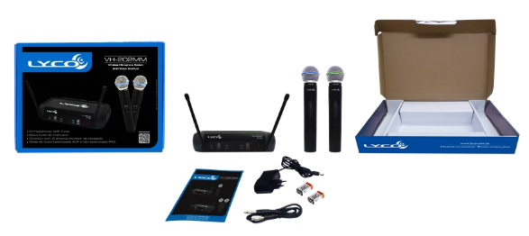 Microfone Lyco VH202MM VHF S/Fio Mao Duplo 2 Ant.