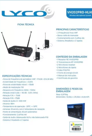 Microfone Lyco Vh202prohlhl Vhf S/fio Cabeça Lapela Duplo 2