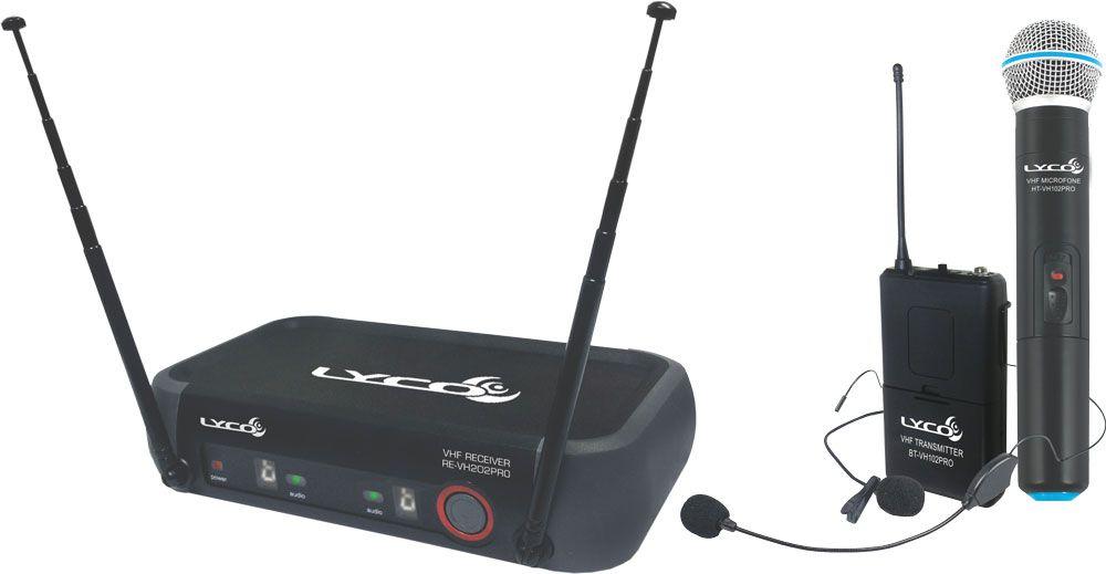 Microfone Lyco Vh202promhl Vhf S/fio Mão, Cabeça, Lapela, 2 Antenas