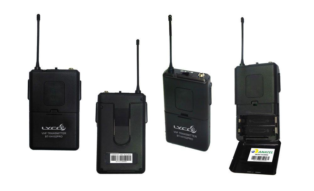 Microfone Lyco Vh202promhl Vhf S/fio Mao Cabeça Lapela 2 Antenas