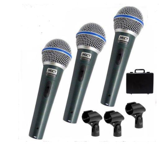 Microfone Mxt Pro BTM58A C/3Peças 541108 C/ 3Peças,  Caximbo, S/Cabo