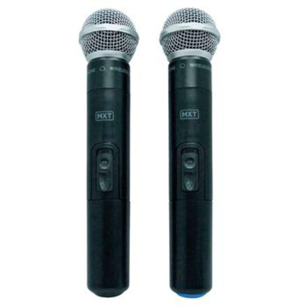 Microfone  MXT UHF302MM 1 Frequência Sem Fio Mão Duplo 2 Antenas