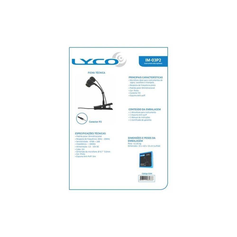 Microfone Sopro Lyco IM03P2 Trompete Avulso P2 C/Rosca