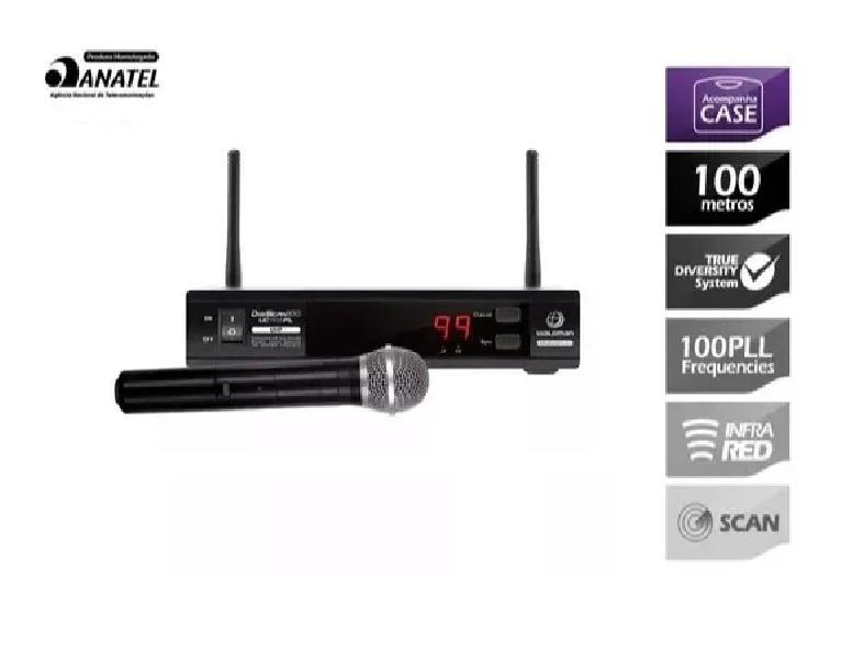 Microfone Waldman Uc1100pl Uhf 100 Freq S/fio Mao 2 Antenas