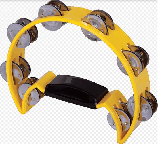 Pandeiro meia Lua Spanking C/Manopla Plástico Amarelo