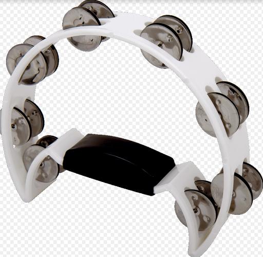 Pandeiro meia Lua Spanking C/Manopla Plástico Branco