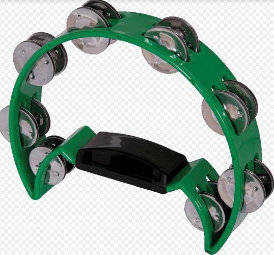 Pandeiro Meia Lua Spanking C/Manopla Plastico Verde