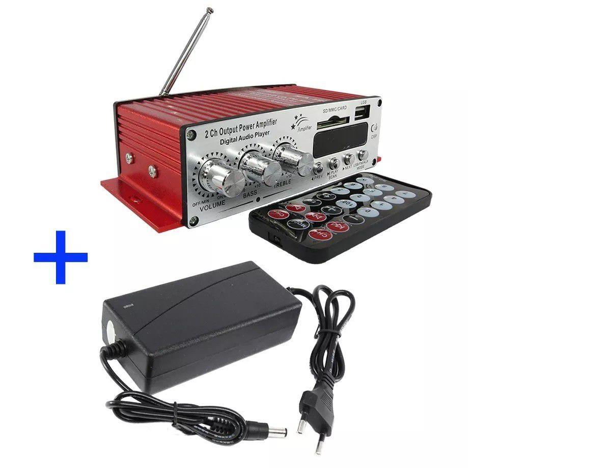 Amplificador 12V USB SD FM 2 Canais Som Ambiente Propaganda Carro Moto