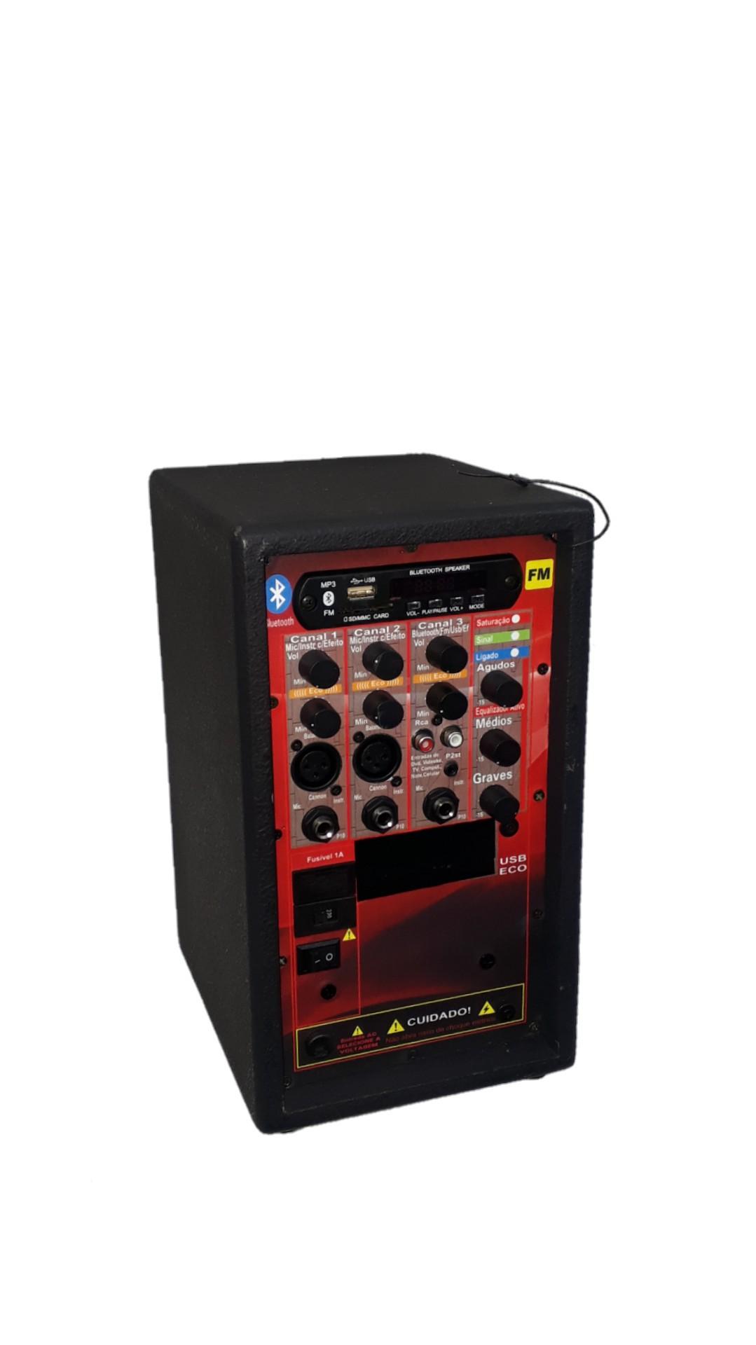 Amplificador Supertech S228 Bluet USB/SD/FM,3Can.N15.Eco.C/Cont.Rem.Rever