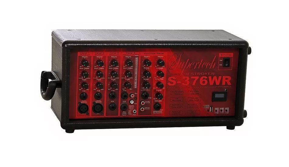 Processador Supertech  S376WR 11Entr. 4Canais 2Cannon In/Out Line Usb/Sd Com Efeito