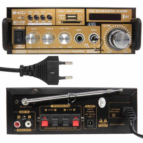 Amplificador Teli BT118 12V Bluetooth USB/SD/FM,Entr.2Microf.2Can.Cont.Rem.