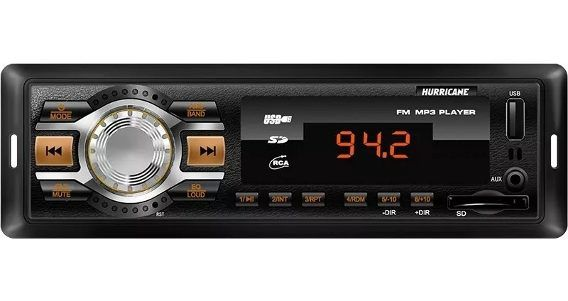Radio Hurricane HR404 Carro AM/FM MP3 USB/SD CARD/MMC S/CD