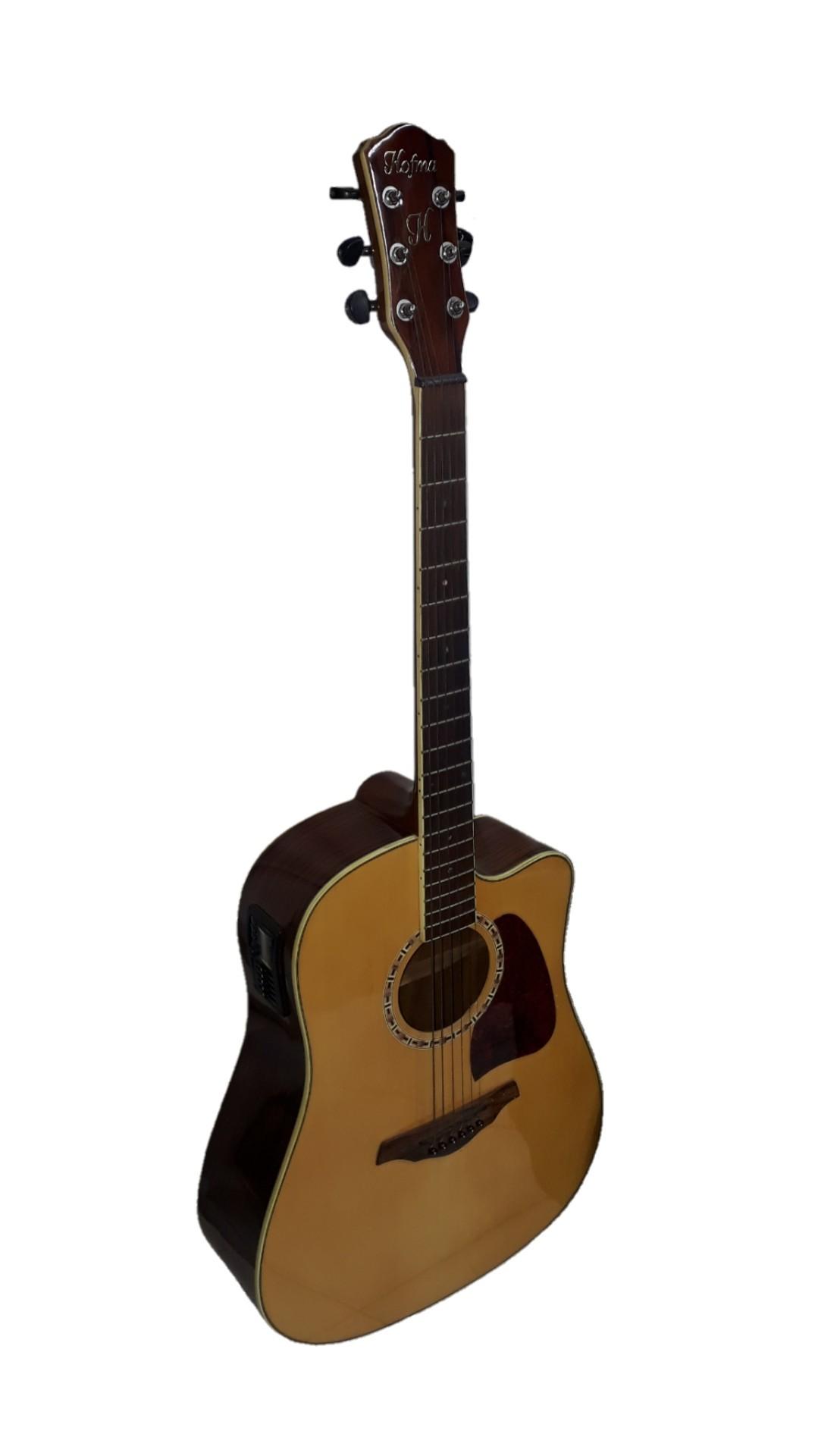 Violão Hofma Hmd275 Aço Folk Elétrico, 6 Controles,   Cutway,  Afinador,   Natural Brilhante