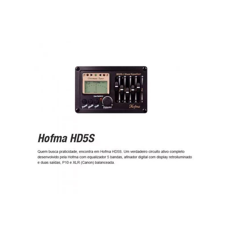 Violão Hofma HMF255 Aço Semifolk Elétrico 6 Controles  Cut.Afin Natural Fosco