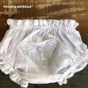 Calcinha para Bebê com Renda Renascença Borboleta - P/M/G