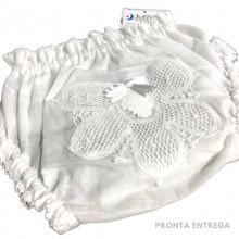 Calcinha para Bebê com Renda Renascença Branco - P/M/G