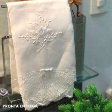 Conjunto Toalha de Lavabo Renda Renascença no Cambraia de Linho (30x50 cm)