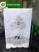 Conjunto Toalha Lavabo com Renda Renascença Bege (30x50 cm)