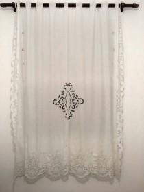 Cortina Bordado Richelieu 1,20x2,50m (LxA) no Percal 230 Fios 1 Folha Clarissa