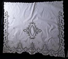 Cortina Bordado Richelieu 1,50 x 1,50 (LxA) no Percal 230 Fios 1 Folha Clarissa