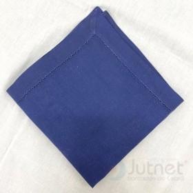 Guardanapo 40x40 Bainha Ponto Ajour 100% Linho Azul Marinho