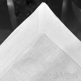 Guardanapo 50x50 com Bainha Ponto Ajour 100% Linho Branco