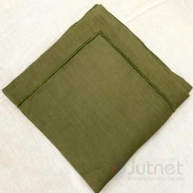 Guardanapo 50x50 com Bainha Ponto Cheio 100% Linho Verde Musgo