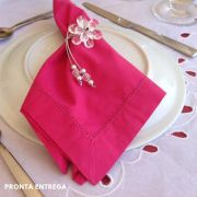 Guardanapo Bainha Ponto Ajour Percal 230 Fios 50x50 Pink