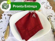 GUARDANAPO BAINHA PONTO CHEIO PERCAL VERMELHO BORDÔ 50X50 (4 UNID.)