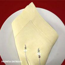 Guardanapo com Bainha Ponto Ajour no 100% Linho 50x50 Amarelo Claro
