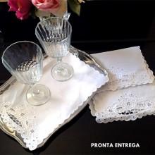 Guardanapo Coquetel 2 peças Bordado Richelieu 100% Linho 30x20 Branco