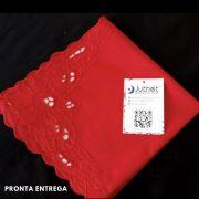 Guardanapo Percal 230 Fios 40x40 Bordado Richelieu 100% Algodão Vermelho Imperial