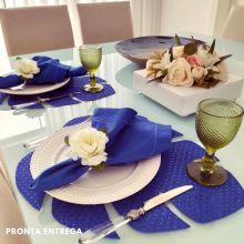 Kit com 12 Guardanapos 50x50 100% Algodão Azul Royal