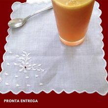 Kit Guardanapo Coquetel com 6 Peças Ramagem Bordado Linho 20x20cm