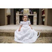 Mandrião para Batismo em Renda Renascença Manga Curta Majestade