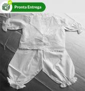 PAGÃO RENDA RENASCENÇA CAMBRAIA BRANCO C/ 3 PEÇAS - 0-3 M