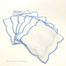 Porta Copo 6 unidades com Ponto Cheio 100%  Linho Branco/Azul
