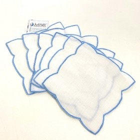Porta Copo 5 unidades com Ponto Cheio 100%  Linho Branco/Azul