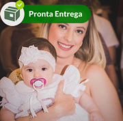 TIARA FAIXA DE CABELO FLOR BRANCO EM RENDA RENASCENÇA
