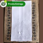 TOALHA PARA BATIZADO DE LINHO RAMI BORDADO E RENDA RENASCENÇA - GRANDE