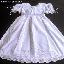 Vestido Bordado a Mão com Renda Renascença 6 meses a 1 ano