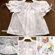 Vestido com Pala em Renda Renascença Branco feito a mão - 1-3 M