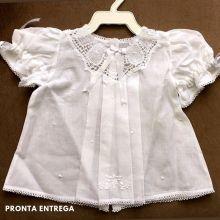 Vestido com Pala em Renda Renascença Feito a Mão 1-3 Meses Branco