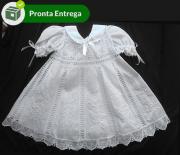 Vestido Nesga Fina em Renda Renascença Bordado à mão 6m-1ano