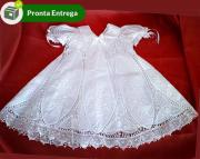 Vestido Nesga Lágrima Renda Renascença e Bordado à Mão 6m-1 ano