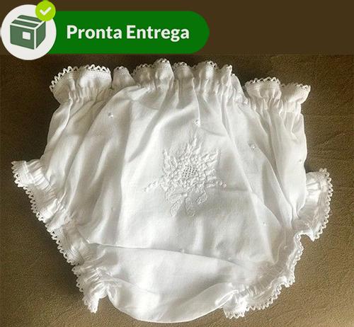 Calcinha com Bordado a Mão Branco - P/M/G  - Bordados do Ceará - Jutnet