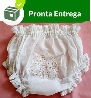 CALCINHA COM RENDA RENASCENÇA - FLOR - BRANCO - P/M/G  - Bordados do Ceará - Jutnet