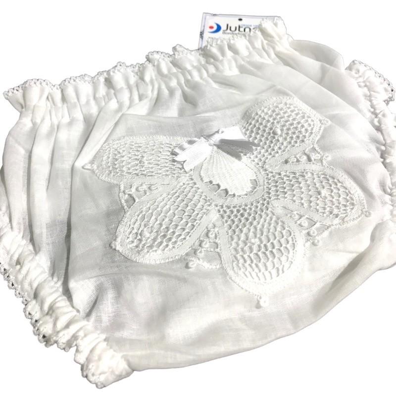 Calcinha para Bebê com Renda Renascença Branco - P/M/G  - Bordados do Ceará - Jutnet