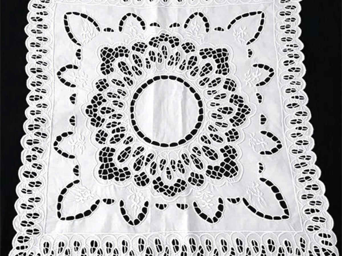 Capa de Almofada 1 Peças Bordado Richelieu 40x40 Percal 230 Fios Mandala  - Bordados do Ceará - Jutnet